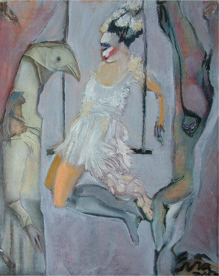 2. Circus,       Huile sur toile       50 x 40 cm.