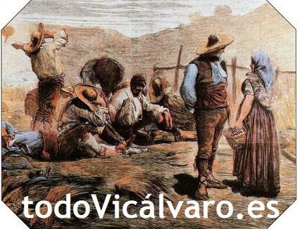 Segadores de Vicálvaro, de 1860 (Imagen extraída de la coleeción 'Madrid, su historia, sus gentes, sus pueblos'. Espasa Calpe 1998).