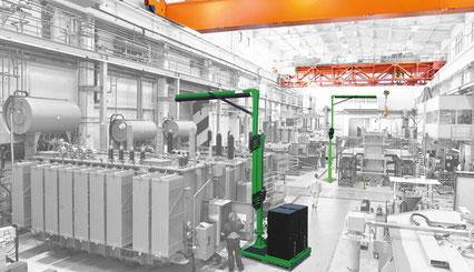 Modulares Auslegersystem als Seilsicherungssystem über Kopf  für Arbeiten auf Maschinen / Plattformen usw. in mittlerer Höhe