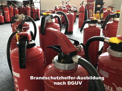 Bild mit verschiedenen Arten und Größen von roten Handfeuerlöschern | Brandschutzhelfer-Ausbildung von LEDERER_trainingg