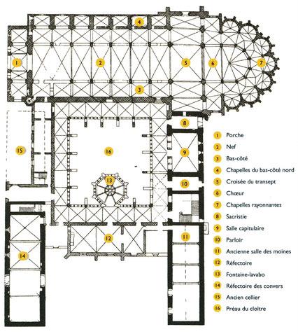 34 - Villeveyrac - Valmagne : Plan de l'abbaye Sainte-Marie - France