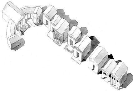 Lambèse (Lambaesis) : Asclépieium - vue 3D -