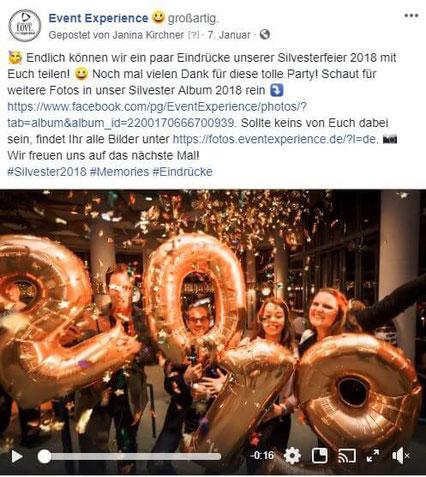 Facebook Post Eindrücke nach dem Event