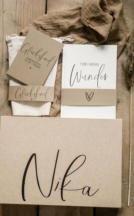 Geschenkset Hallo kleines Wunder Babytagebuch Meilensteinkarten Erinnerungsbox