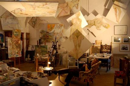 atelier d'artiste d'un peintre contemporain à Saint Germer de Fly, entre Normandie et Picardie