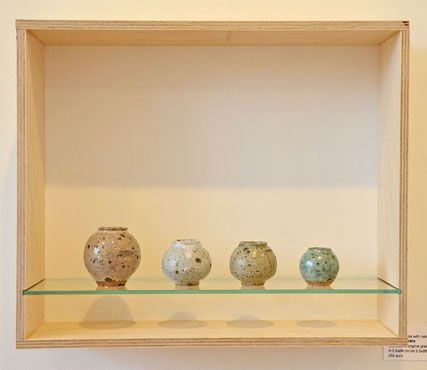 Miniatuure pots with cabin #4, Porcelain or stoneware, original glaze/ H:3.5 x Dia: 2 cm - H:5.5 x Dia: 6cm ( Sold)