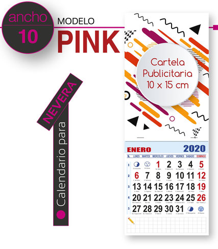 Calendario de pared publicitario cartela todo color con faldilla mensual
