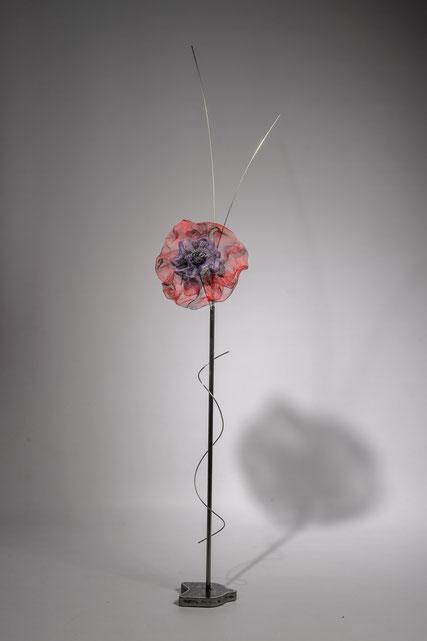 fleur acier inox tige  rouge violet décoration