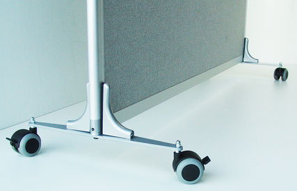 Office partition on casters