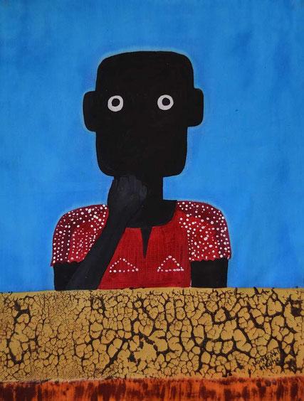 NALA an der Grenze, by Nonhlanhla Mathe, Bulawayo / Zimbabwe, Textilfarbe auf Stoff,