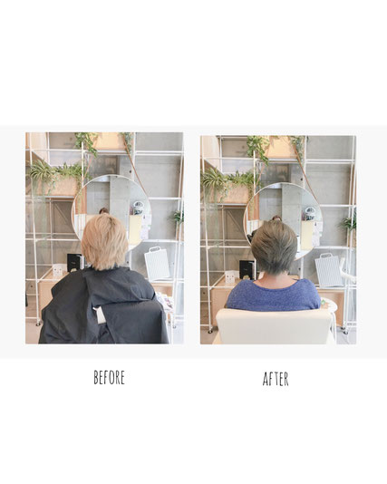 横浜 石川町 美容室 Grantus ショートスタイル グレイカラー 大人カラー 白髪染め 夏