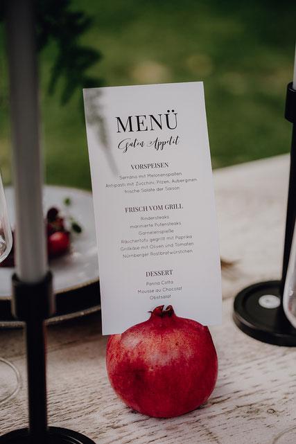 L´Art du Mariage – Agentur für Hochzeitsplanung | Menü Karte, Tischdeko