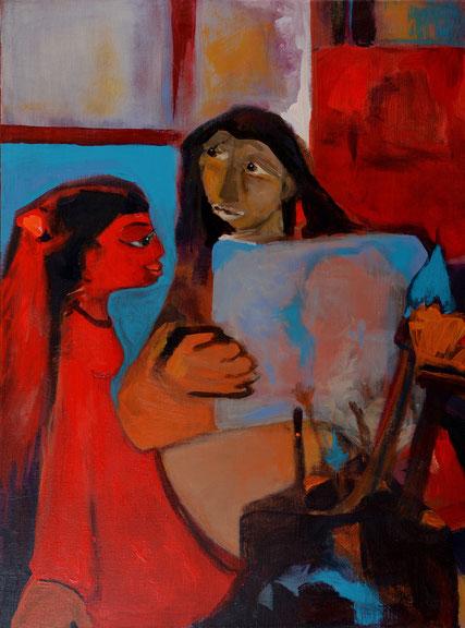 Der Maler und sein Model / Acryl auf Leinwand / 80 x 60 cm