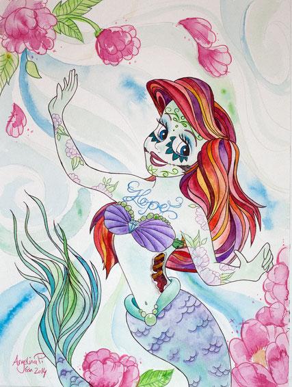 Ariel, die kleine meerjungfrau, aquarellmalerei, watercolor art, berlin art, kunst malerei, berlin friedrichshain, angelina petersen, dios de los muertos
