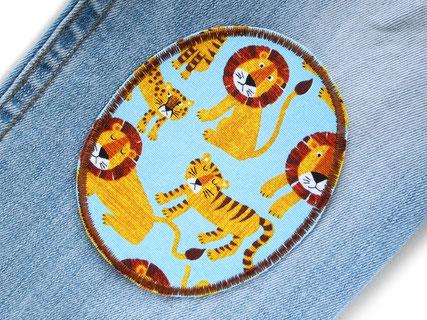 Bild: Knieflicken für Kinder zum aufbügeln mit Löwe und Tiger, Hosenflicken Aufnäher mit Tieren