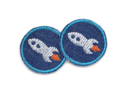Set Mini Jeansflicken Rakete Flicken zum aufbügeln für Jungen