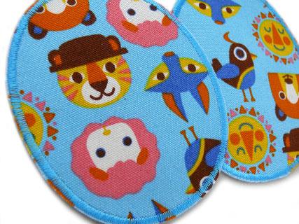 Bild: ovale Knieflicken für Kinder zum aufbügeln mit Tieren, robuste Bügelflicken reparieren Hosenlöcher