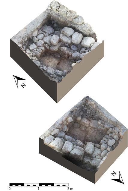 Schrägansichten der Mauern M347, M348 und M349.