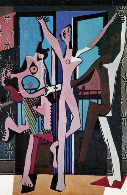 Las tres bailarinas 1925. 215x142cm. Este cuadro supuso un punto de inflexión,marcando la irrupción de lo extravagante,lo monstruoso como existencia transformada por el miedo.
