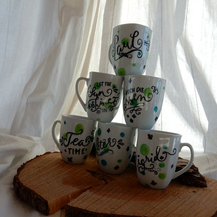 brushlettering auf Tassen mit Edding Porzellan Markern