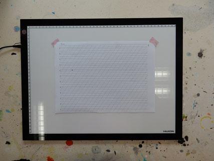 Linienblatt rechtwinkelig auf das Huion montieren