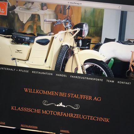 Druckatelier46 Mülchi - Foto neuer Werbeauftritt Stauffer AG - Klassische Motorfahrzeugtechnik