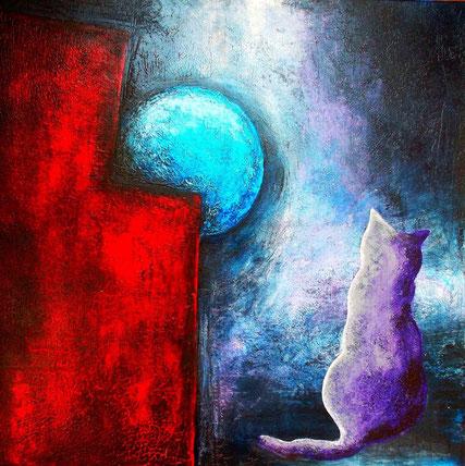 Katze Violetta - Mischtechnik auf Leinwand - 80 x 80