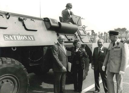 """A cette occasion, baptème du VAB """"SATHONAY"""" en présence de Robert VINCENT, maire, Mick MICHEYL, ?, CDC"""