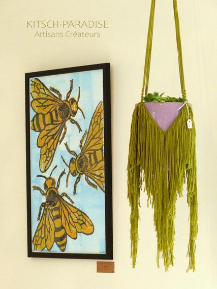 poster abeille porte plante macrame