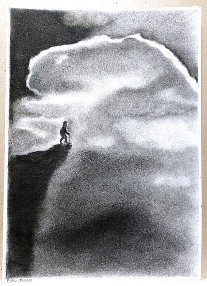 """""""der späte Wanderer, Kohle auf Zeichenpapier, 21 cm x 29,7 cm"""