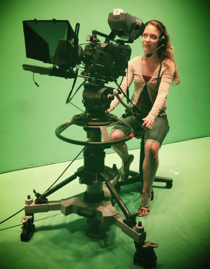 Digital Artist Deborah Leunig filming in a green screen studio as Film and Visual Effects student at San Diego State University - Film and Television Department
