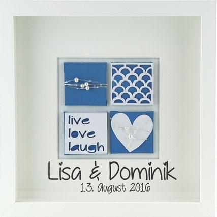 Personalisiertes Hochzeitsgeschenk Hochzeitsbild live love laugh blau