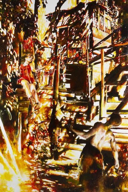 Transmission, Glasmalfarben auf MDF Platte, 120 cm x 185 cm, 2021
