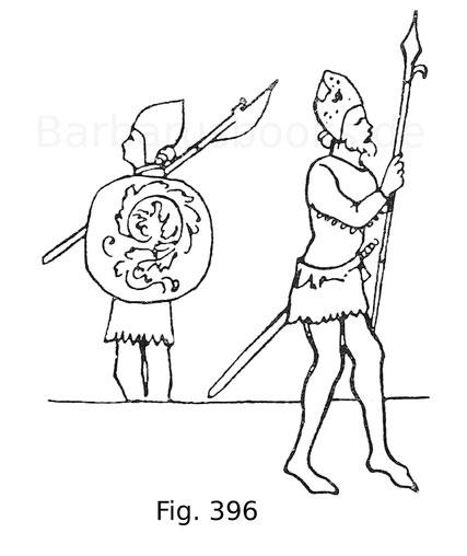 Fig. 396. Italienische Soldaten des 14. Jahrhunderts aus einem Manuskript der Ambrosianischen Bibliothek. Nach Jacquemin.