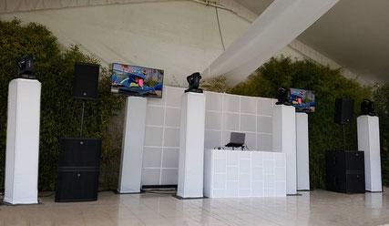 Montaje de nuestro dj PREMIER donde aparecen 8 bocinas Electrovoice ETX logrando un dj para eventos de hasta 400 personas