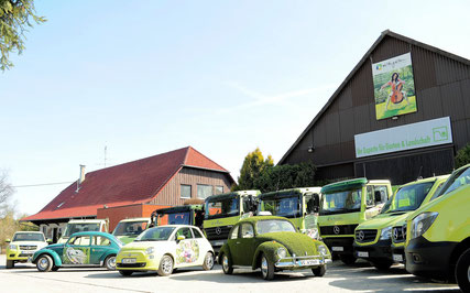 moderner Fuhrpark, LKW, Sprinter, Transporter, kreatives Galabauunternehmen