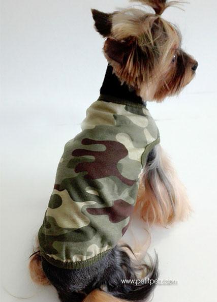 Camiseta para perros modelo camuflage, tallas disponibles para perros toy miniatura y cachorritos de cualquier raza