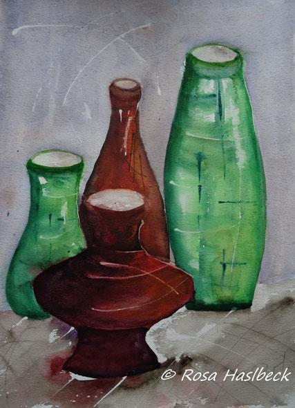 aquarell, stillleben,  krug, flaschen, rot, grün, blau, , bild, handgemalt,  kunst, bild, wanddekoration, geschenkidee, dekoration, wandbild, art, malen, malerei