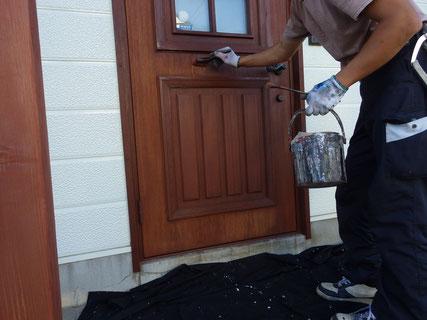 盛岡市玄関ドア上塗り