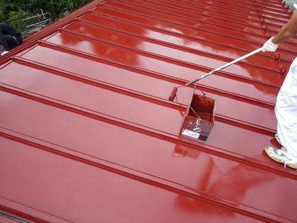 岩手岩泉屋根上塗り