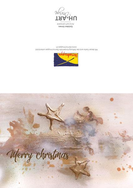 Weihnachtskarte mit Logo der Stiftung auf der Rückseite. Jede Karte spendet 1.-- CHF.