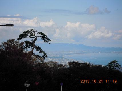 博労座駐車場の上から見た弓ヶ浜半島