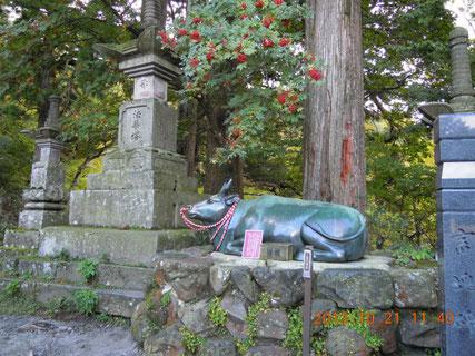 牛の霊を慰める為に、鼻ぐりの銅をもって鋳造された宝牛(別名撫牛)