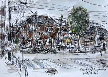 東京都・北品川の古い民家の家並み