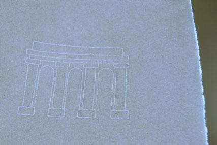 Handgeschöpftes Papier mit Wasserzeichen, Torbogen