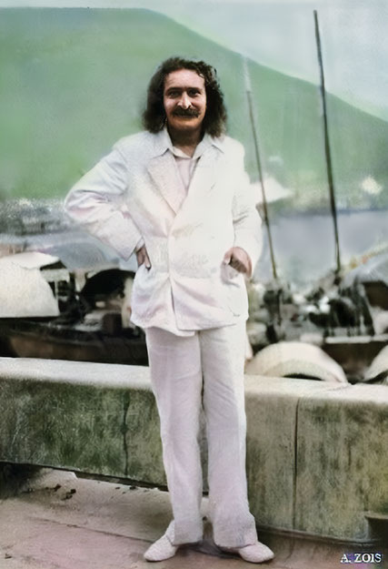 June 1932 ; Meher Baba beside Xuanwu Lake, Nanjing, China.   ( Colourized & cropped image by A. Zois )