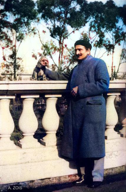 Baba & Chummy at Nasik Jan 1935. Image colourized by Anthony Zois.