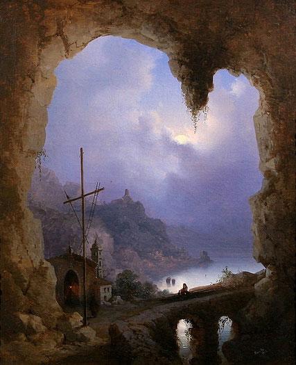 """Gioacchino La Pira, """"Vista di Amalfi dalla Grotta del Convento dei Cappuccini"""" (1856)"""