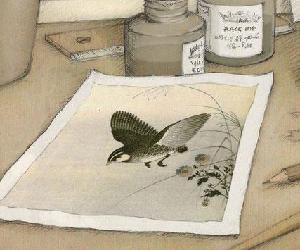 un oiseau. Dessin de Timeliot