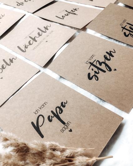 Meilensteinkarten Glückskind Baby Schwangerschaft Kraftpapier schlicht